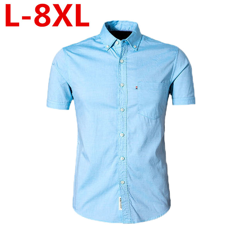 New Summer Fashion Brand Men Clothes Slim Fit Men Short Sleeves Shirt Men Solid Color Casual Men Shirt Plus Size L--8XL
