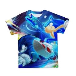 Lato nowy niebieski styl 3D Sonic jeż mężczyźni/kobiety T-shirt Cartoon zabawa styl komiksowy oddychający wygodny O-Neck T-Shirt odzież