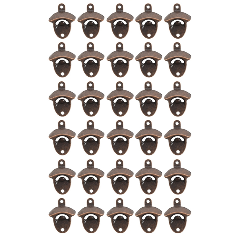 30 Pack Bottle Opener Wall Mounted Rustic Beer Opener Set Vintage Look with Mounting Screws for Kitchen Cafe Bars