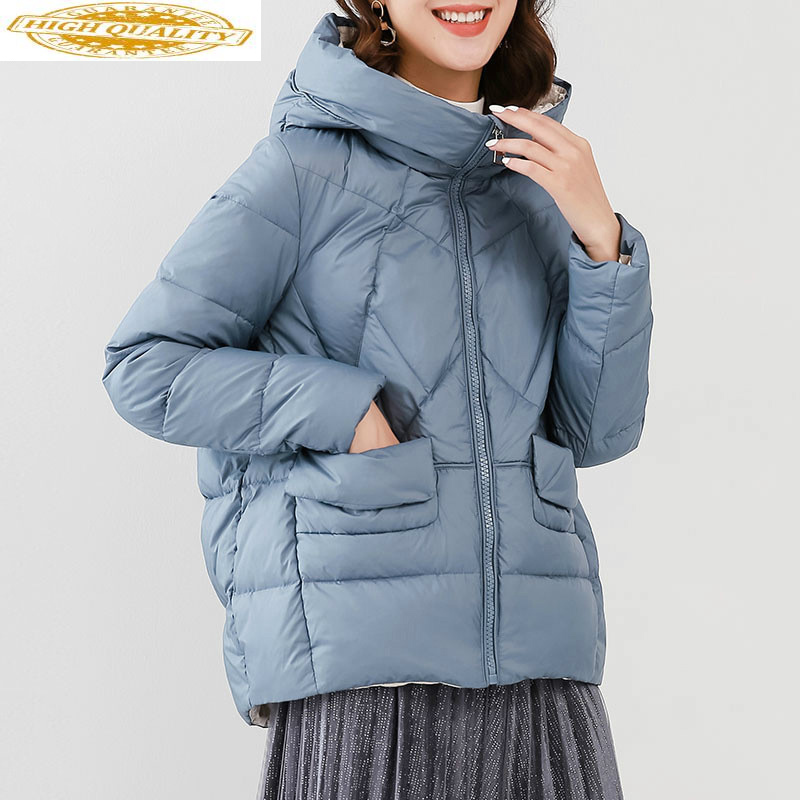 Women's Down Jacket Hooded White Duck Down Coat Winter Autumn Light Puffer Jacket Doudoune Femme Hiver WD1Y19118 KJ3677