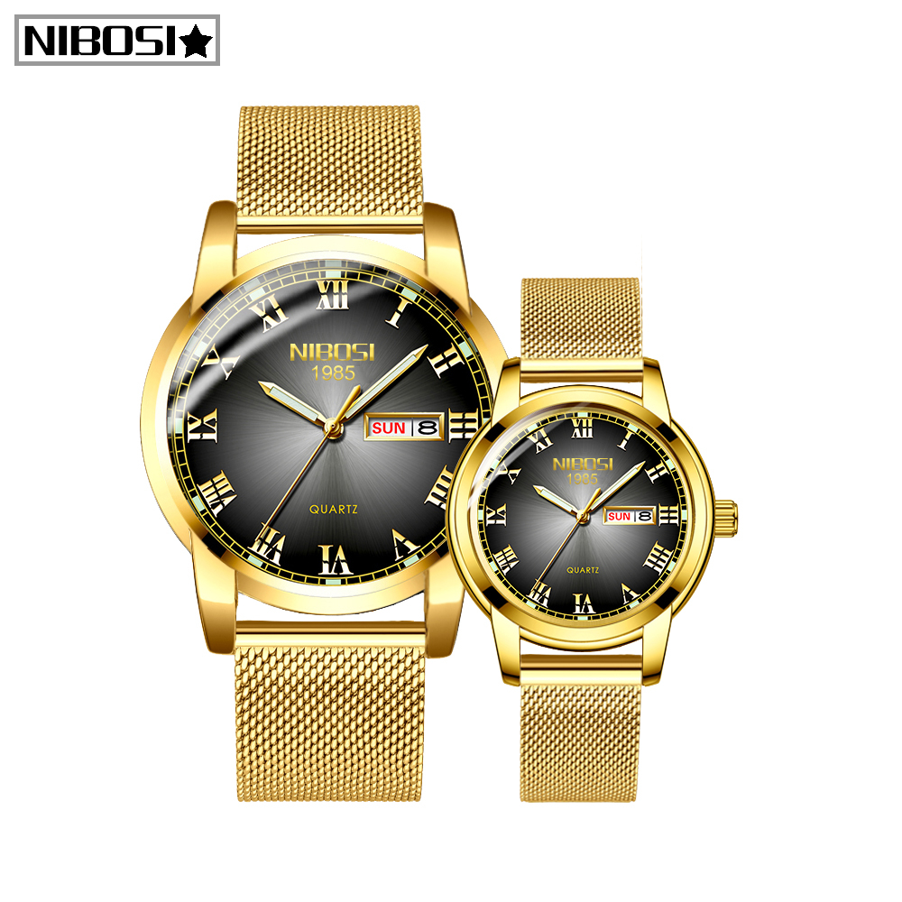 NIBOSI Relogio Feminino Gold Mens Women Watches Unique Design Luxury Stainless Steel Mesh Strap Men's Fashion Casual Date Watch