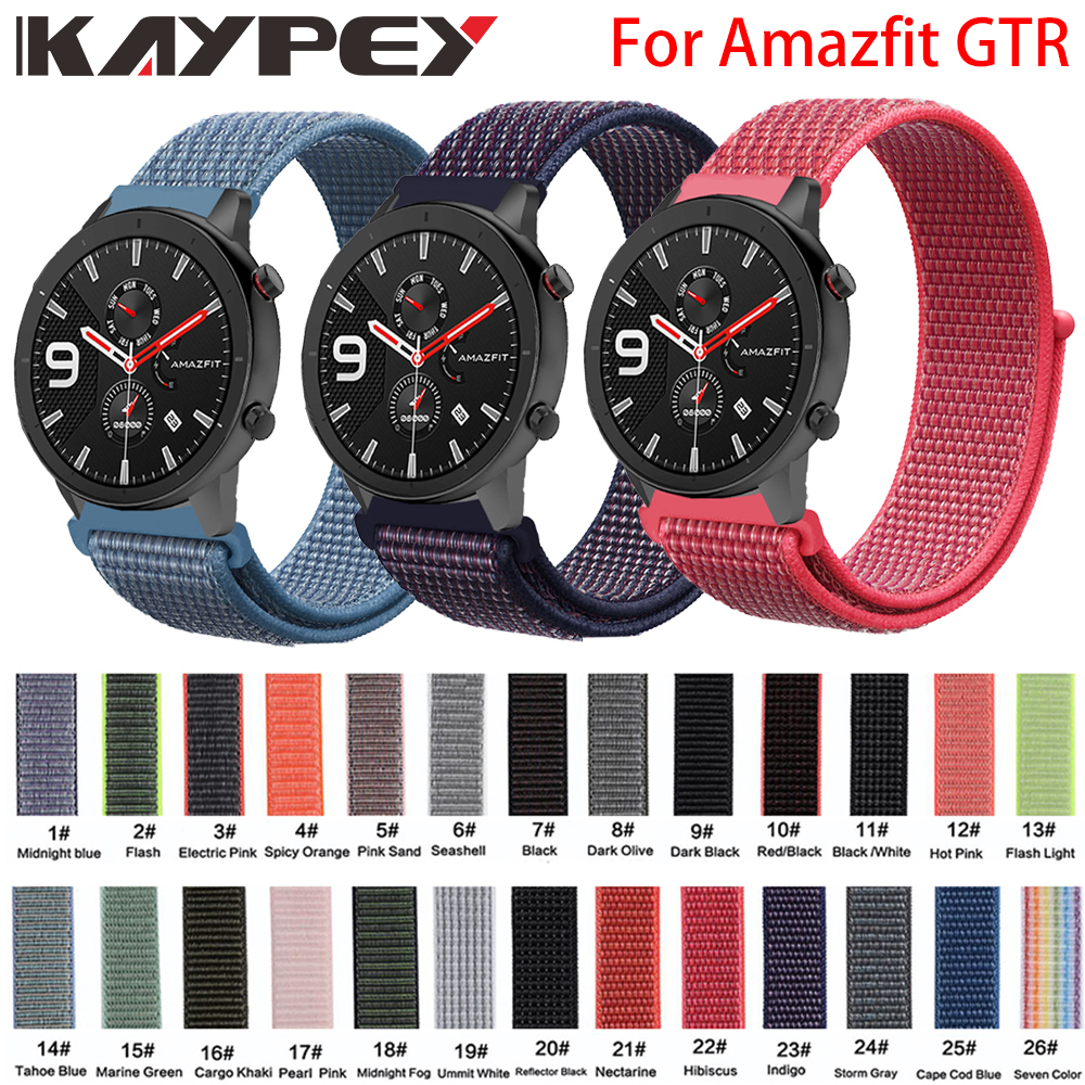 High Quality Nylon Loop Woven Strap For Xiaomi Huami Amazfit GTR 42MM 47MM Smart Watch Wearable Wrist Bracelet Amazfit Watchband