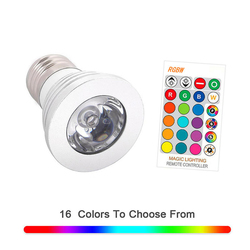 Светодиодный светильник E27 RGBW, 16 цветов, 3 Вт, меняемый цветной RGB светодиодный светильник с ИК-пультом дистанционного управления, для дома