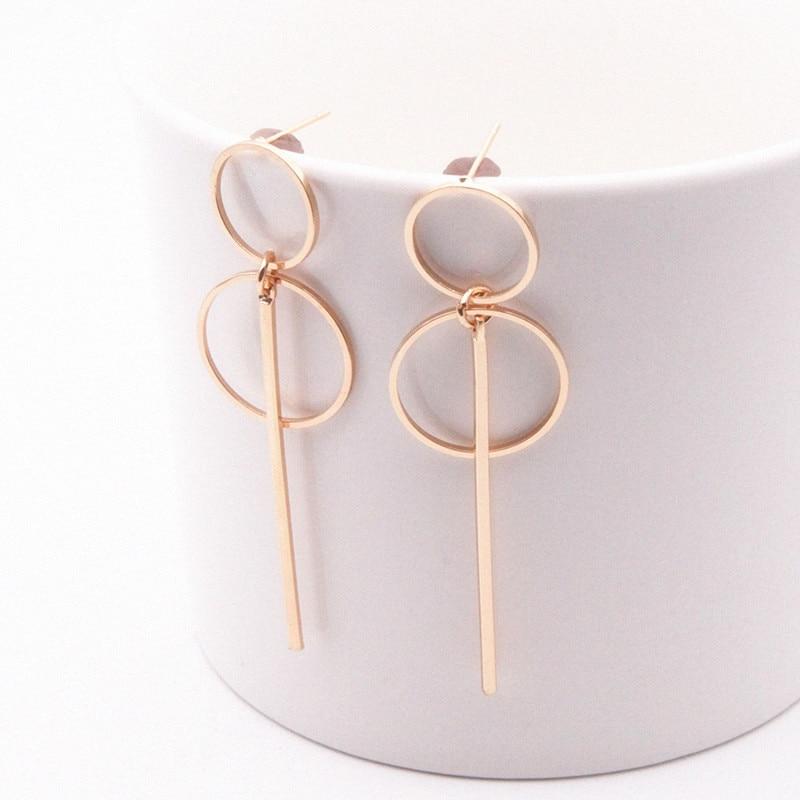 NEW Gold Silver Geometric Metal Tassel Earrings For Women Long Circle Pendant Earings Fashion Jewelry