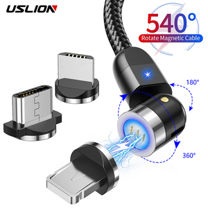 USLION 540° Magnetic Cable Micro USB Type C Cable 3A Fast Charging Phone Magnet Charger Cord For iPhone 11 Pro Samsung Xiaomi