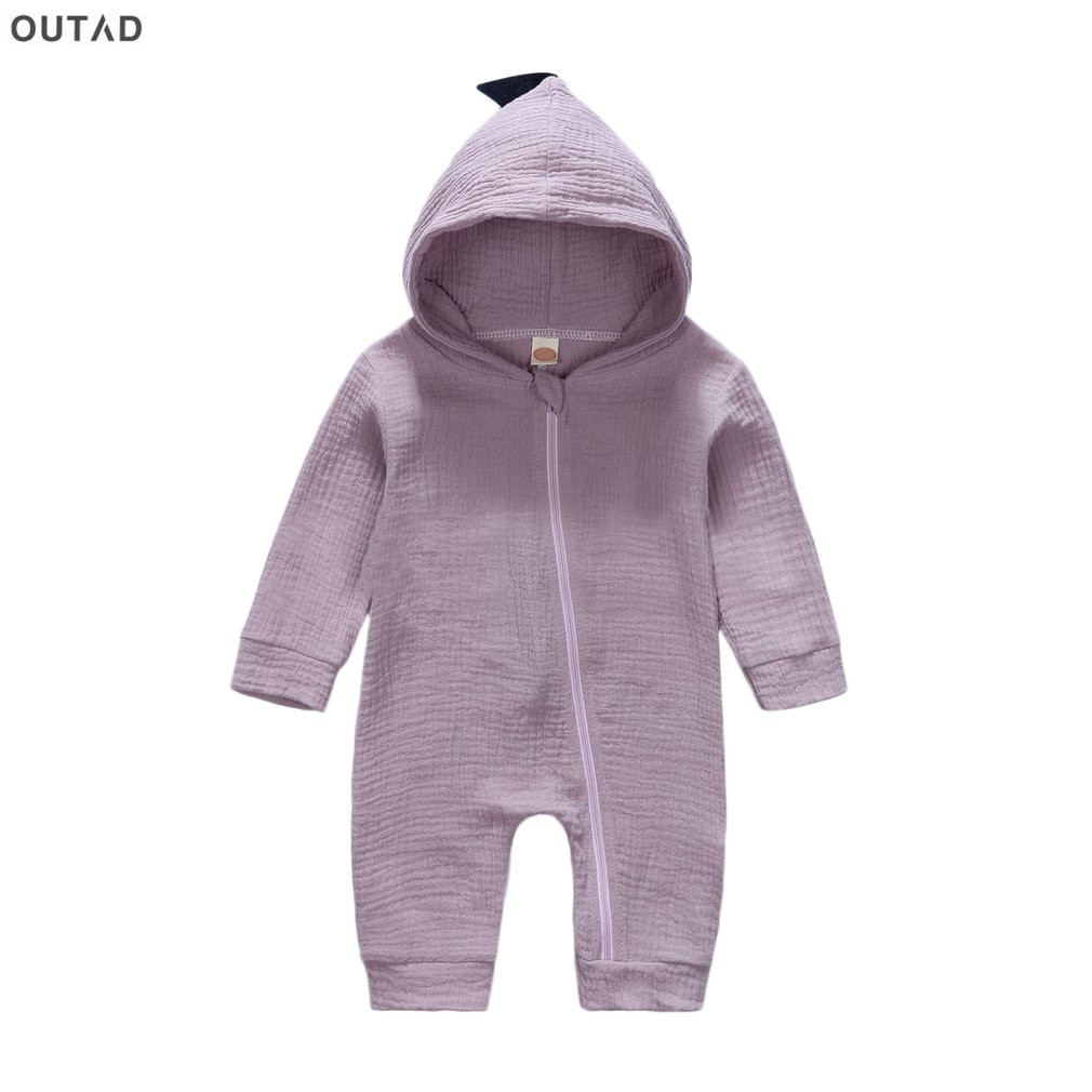 Newborn Boys Girls Long Sleeve Zipper Hooded Cute Jumpsuit Outfits Clothes for 0-24 Months Baby Dinosaur Romper