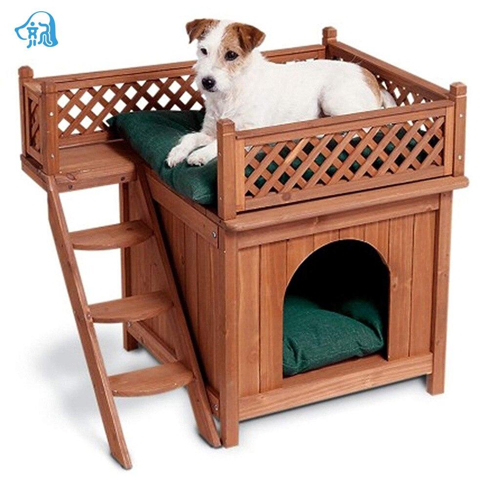 Maison de chien détachable en bois véritable dans la chambre violon Teddy quatre saisons maison générale maison de chien de luxe avec des escaliers de chien maison de chien Villa