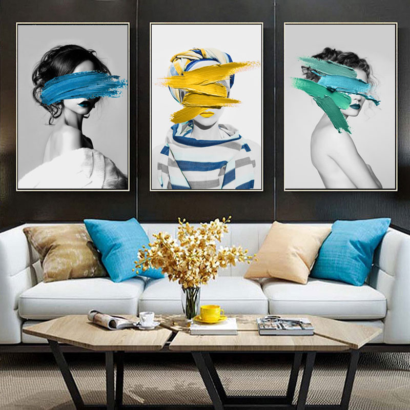 H5816fec8a6c24c698c073f09cc3c5895L Modern Nordic Black And White Canvas Painting Art Print Wall Poster Abstract Girl Wall Pictures Wall Art for Bedroom Living Room