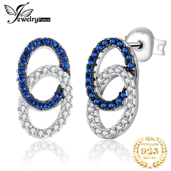 JewelryPalace Genuine Blue Spinel Double Circle Stud Earrings 925 Sterling Silver Earrings for Women Jewelry Making Fashion Gift