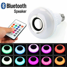 Smart E27 12W LED RGB Bulb Wireless Bluetooth Speaker Music Playing Audio Dimmable Light Bulb RGBW Lamp with Remote Controllor