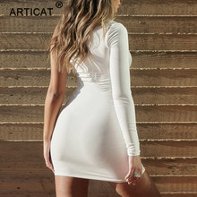 Articat One Shoulder Sexy Bodycon Party Dress Women Cut Out Long Sleeve Mini Summer Autumn Dress Elastic Black Casual Club Dress
