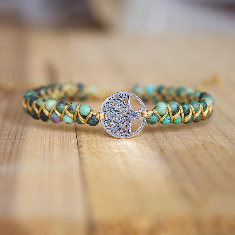 Handmade Natural Stone Boho Yoga Wrap Bracelet & Bangle Tree of Life African Japser Braided Charm Bracelet Women Men Gift
