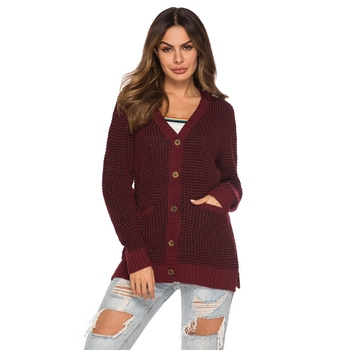 Autumn Long knitted cardigan women single breasted sweater ladies long sleeves sweater pockets warm winter knitwear Jumper Tops