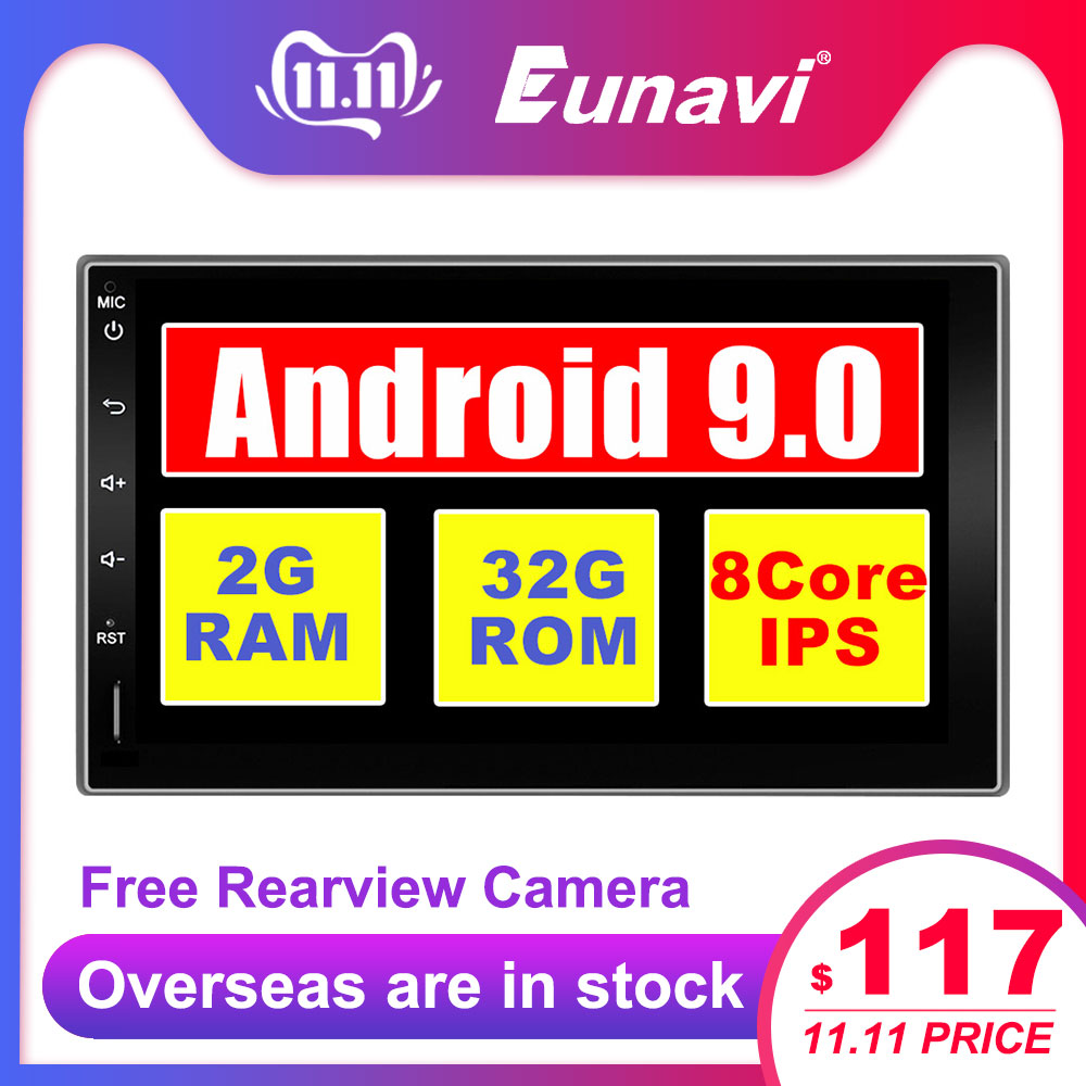 Eunavi 2 Din Android 9.0 Universal Car Radio Double din Mutimedia Stereo GPS Navigation IPS TDA7850 4G 64G touch screen NO DVD image