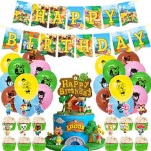 1 piece/set of forest animal birthday party balloon decoration, forest banner cake top hat balloon, baby shower party supplies