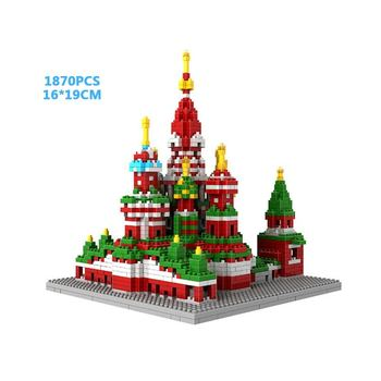 World famous architecture micro diamond block Saint Basils Cathedral moscow russia nanobricks building bricks toy collection