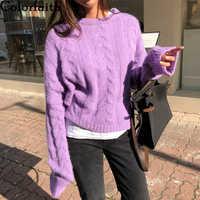 Colorfaith 2019 New Autumn Winter Women Sweaters Pullovers Minimalist Knitting Elegant Casual Loose Warm Ladies Tops SW7231