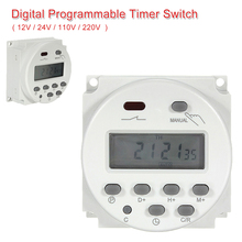 цена на 7 Days Weekly Programmable Time Digital LCD Power Timer Switch Relay 12V/ 24V/ 110V/ 220V Built-in Rechargeable Battery