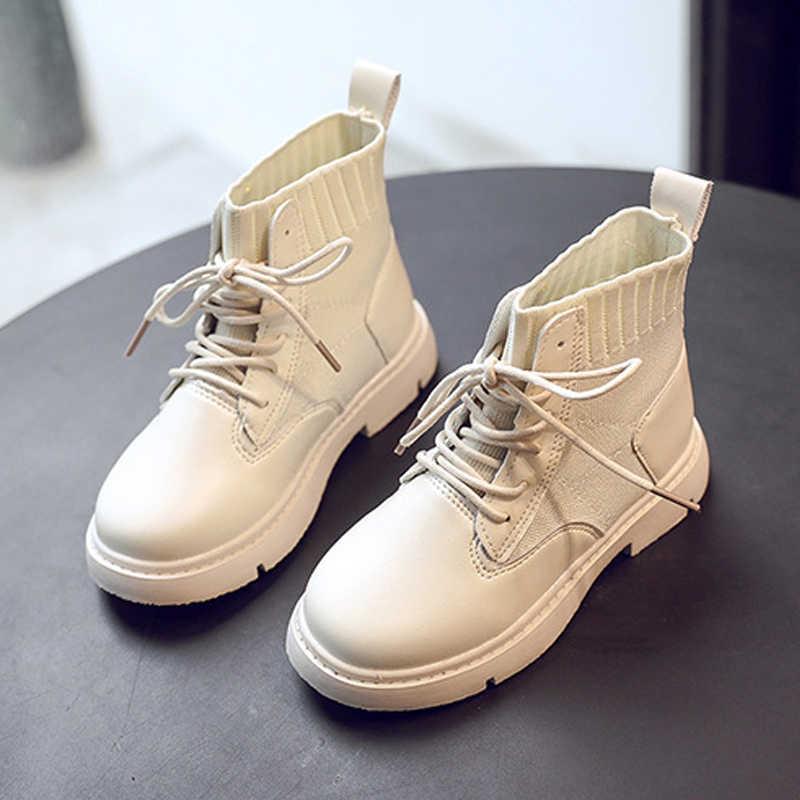 หนังนุ่มเด็ก Martin Boots ชายรองเท้าสไตล์อังกฤษที่อบอุ่นถักเด็กรองเท้าเด็กรองเท้าผ้าใบเด็กหญิง Gumboots