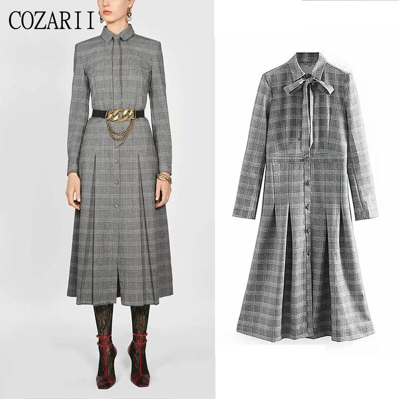 COZARII femmes plaid imprimé dip hem robe vintage à manches longues col rabattu noeud papillon 2019 mode Za robes de soirée Vestidos