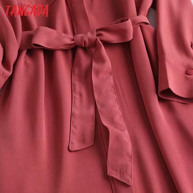 Tangada Fashion Women Elegant Solid Shirt Dress High Quality Long Sleeve Ladies Midi Dress Vestidos 4C58 4