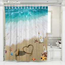 Wishing Bottle Sea Beach Shell Shower Curtains 3D Bathroom Curtain Large Size Bath Screen Waterproof Decor with Hooks