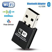 600 mb/s WiFi Bluetooth 4.2 USB Adapter dwuzakresowy 2.4/5Ghz bezprzewodowy odbiornik zewnętrzny Adapter WiFi na PC/Laptop/Desktop