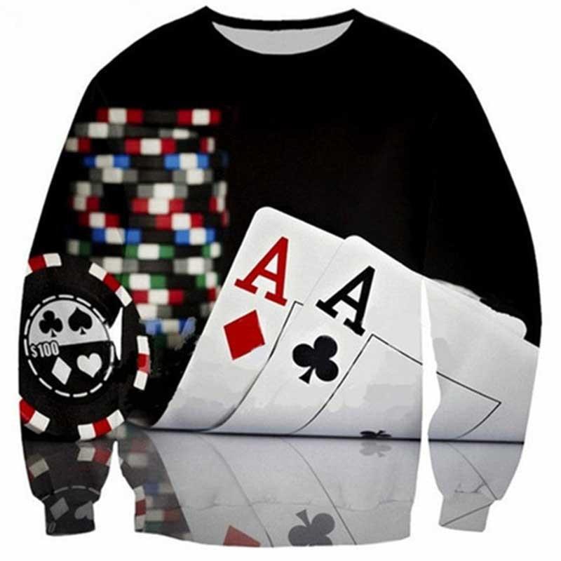 Teenager Trend MEN'S Hoodie Poker A Cool Digital Printing 3D Crew Neck Long Sleeve/AliExpress