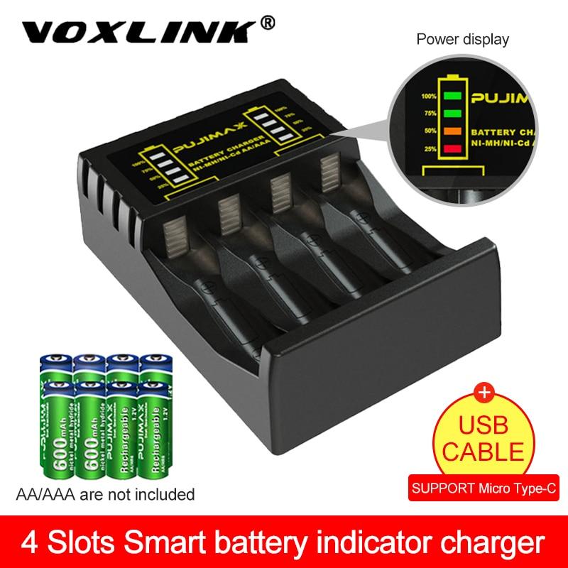VOXLINK 4 slot Batterie Ladegerät für AAA/AA Akku Kurzschluss Schutz mit Led-anzeige Ni-Mh/Ni-Cd ladegerät