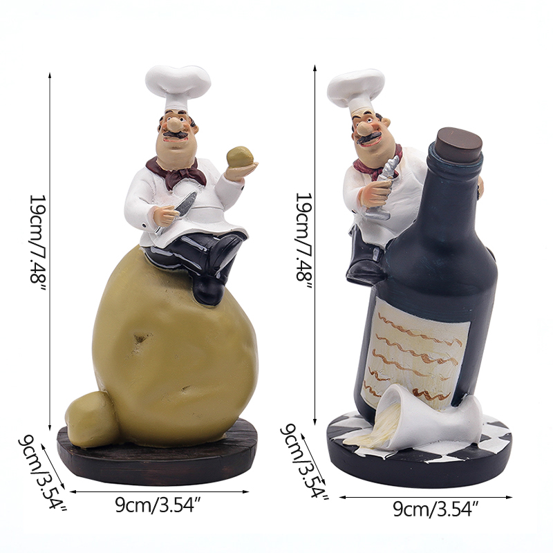 Strongwell Retro Chef Model Ornaments Resin Crafts Chef Figurines White Top Hat Cook Home Kitchen Restaurant Bar Coffee Decor in Figurines Miniatures from Home Garden
