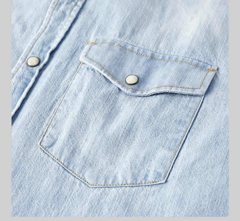 Kuegou 2019 outono 100% algodão denim camisa dos homens vestido casual fino ajuste manga longa para o sexo masculino marca de moda blusa mais tamanho 6276