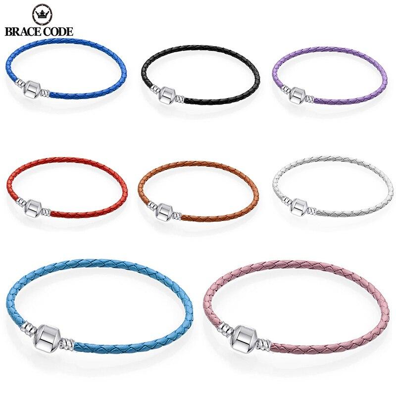 BRACE CODE Authentic 8 Colors 16cm-21cm Leather Chain Charm Bracelets Fits Original DIY Fine Bracelets For Women Jewelry Gift