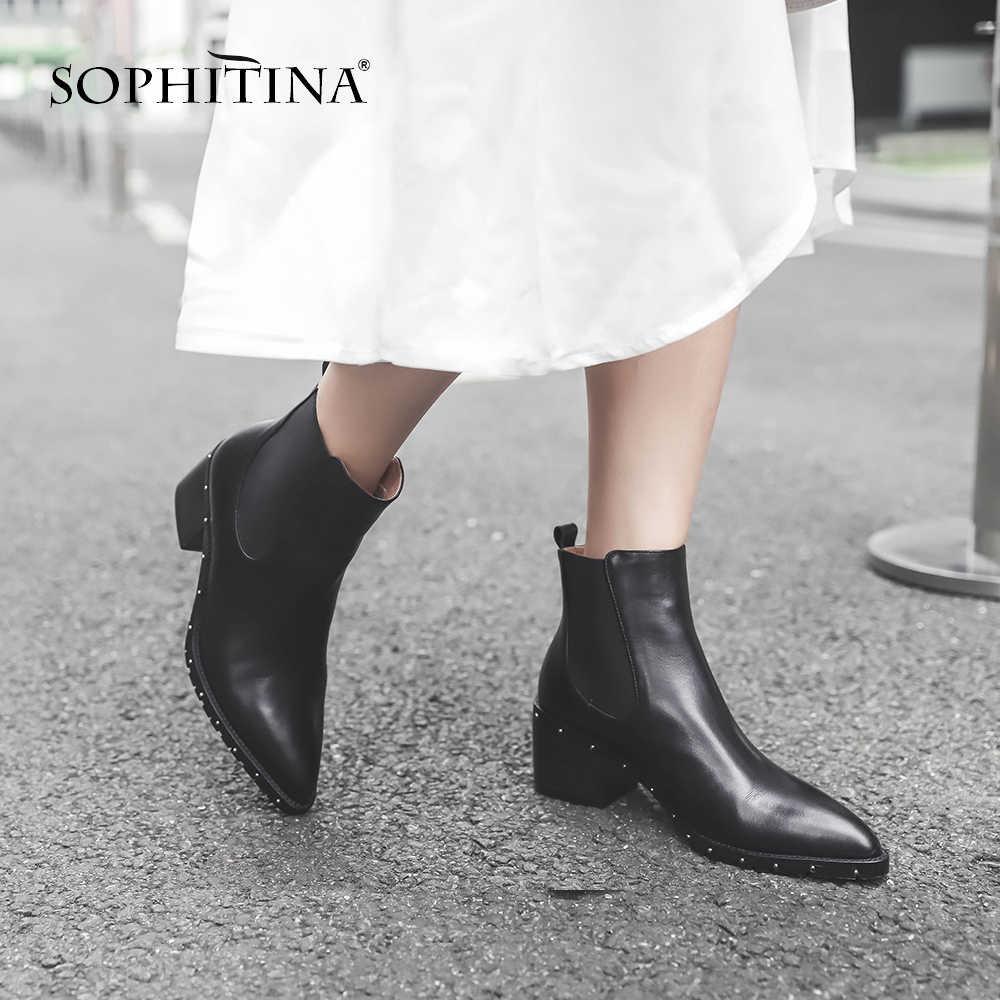SOPHITINA seksi sivri burun kadın botları yüksek kalite hakiki deri el yapımı kare topuk ayakkabı temel yüksek topuk bayan botları MO278