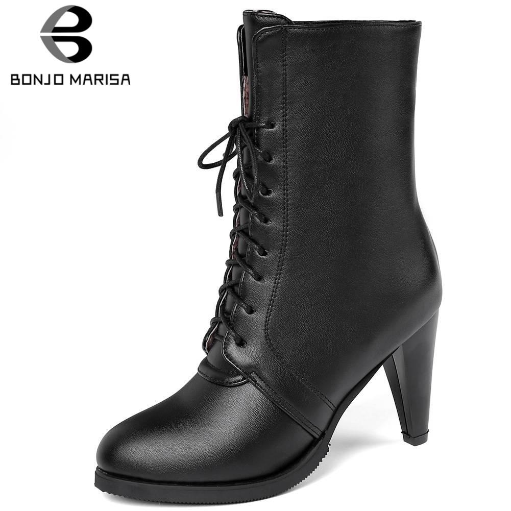BONJOMARISA Plus Size 34 45 New lace up High Top Booties Ladies Mature Spike Heels Ankle Boots Women High Heels OL Shoes Woman