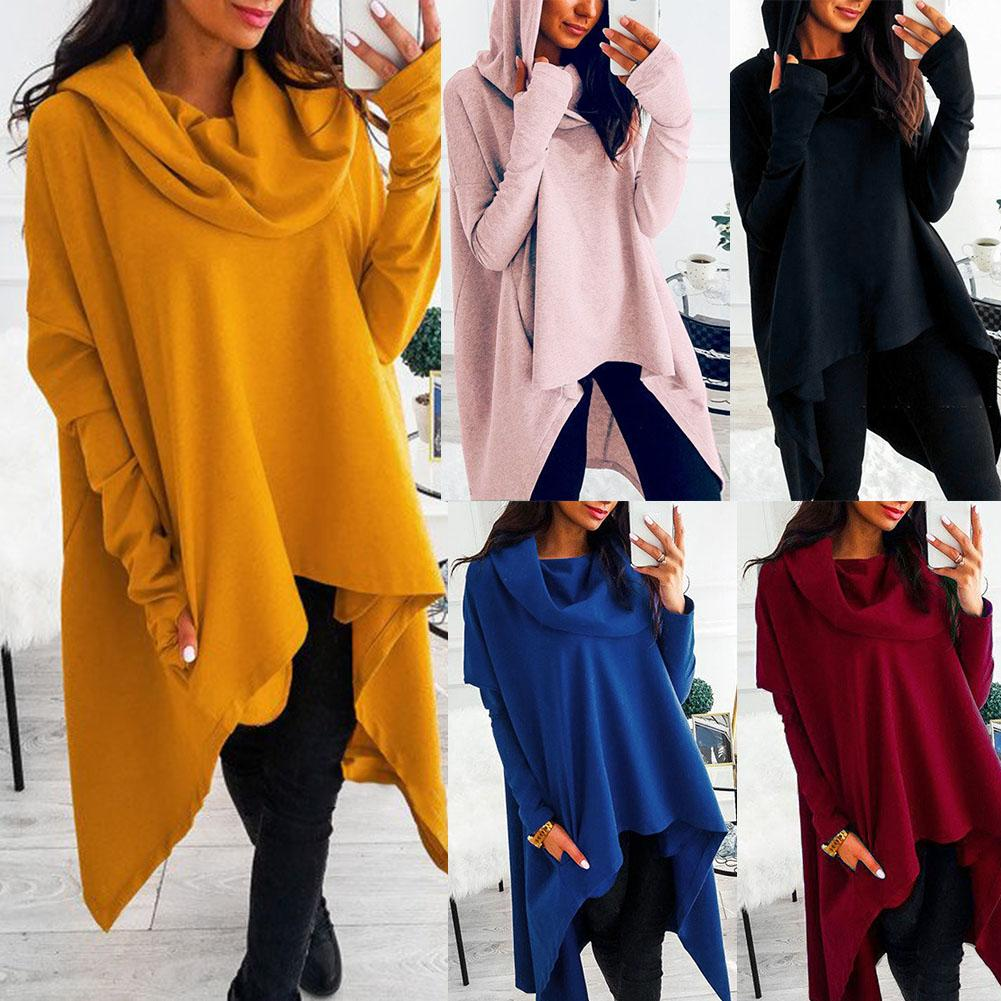 Fashion Plus Size Casual Women Hoodie Solid Color Long Sleeve Irregular Hooded Women Pullover Hoodie For Women's Top Sweatshirt