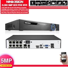얼굴 탐지 H.265 H.264 POE CCTV NVR 보안 감시 비디오 레코더 PoE IP 카메라 용 4CH 8CH 5MP PoE NVR IEE802.3af