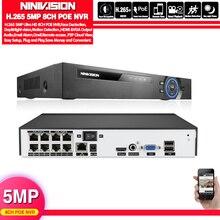Viso di Rilevamento H.265 H.264 POE CCTV NVR di Sorveglianza di Sicurezza Video Registratore 4CH 8CH 5MP PoE NVR IEE802.3af Per TELECAMERA IP di PoE telecamere