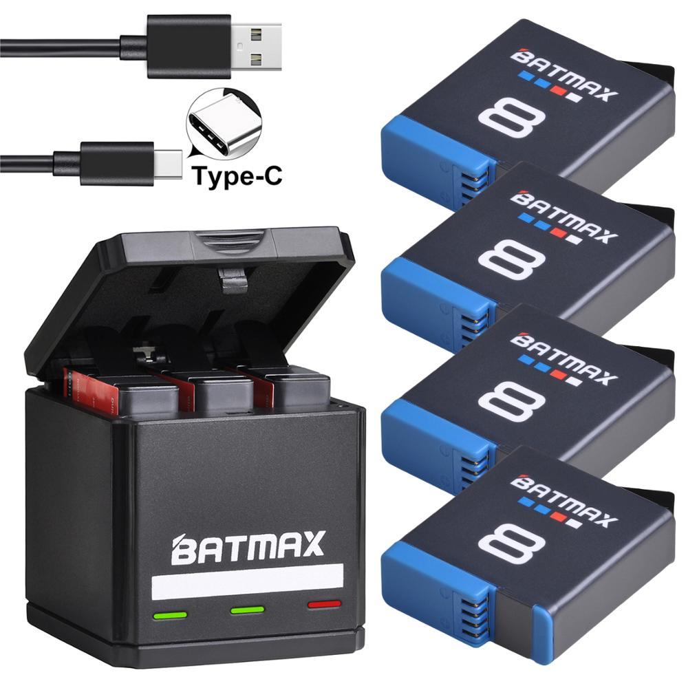 Batterie originale Batmax pour Gopro Hero 8 Li-ion noir Hero 8 noir GoPro Hero 7 Cam Akku + chargeur Triple USB avec Port de Type C
