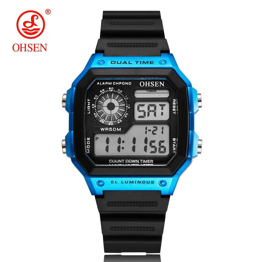 OHSEN Digital Sport Men Watch 50 Waterproof Diving Man Casual Wristwatches Alarm Stopwatch blue Fashion Watches Reloj Hombre