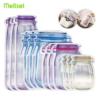Reusable Mason Jar Bottles Bags Nuts Candy Cookies Bag Waterproof Seal Fresh Food Storage Snacks Sandwich Zip Lock - discount item  45% OFF Home Storage & Organization