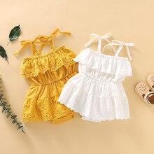 2021 новые летние детские комбинезоны комбинезон для новорожденных, для младенцев, для маленьких девочек без рукавов и с кружевом; Платье-ком...