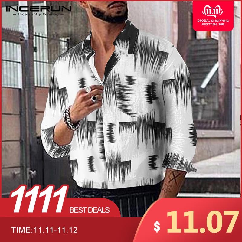 2019 Men INCERUN Long Sleeve Lapel Collar Pockets Shirts Fashion Irregular Printed Button Down Slim Blouse Masculina Size S-5XL