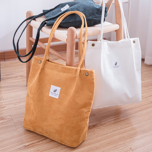 Women Corduroy Shopping Bag Female Canvas Cloth Shoulder Bag Environmental Storage Handbag Reusable Foldable Eco Grocery Totes 2