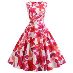 Женское летнее платье в стиле ретро с голубым цветочным принтом, винтажное ТРАПЕЦИЕВИДНОЕ ПЛАТЬЕ до колена с круглым вырезом без рукавов и ...