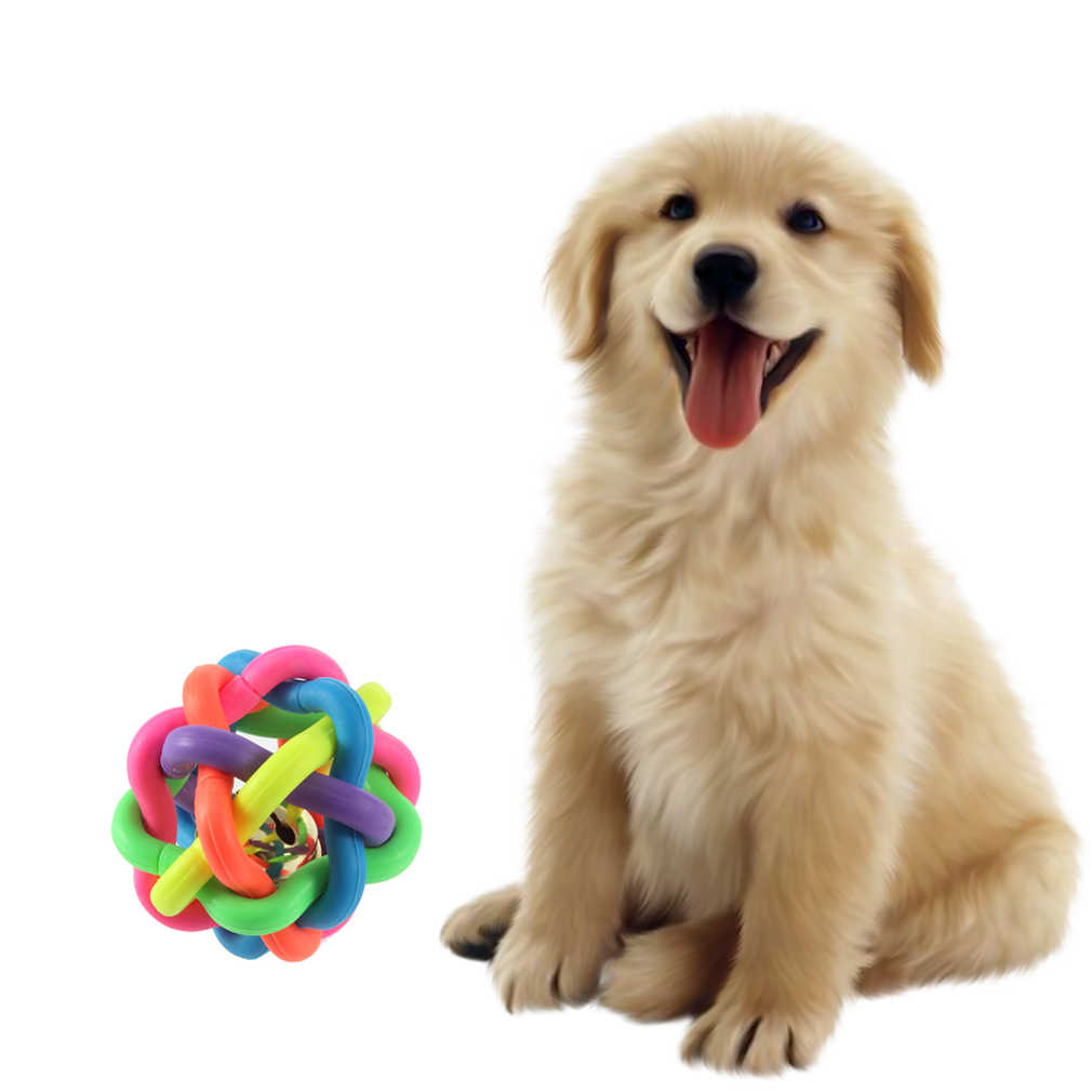 1pcs 강아지의 장난감 애완 동물 강아지 고양이 장난감 다채로운 고무 둥근 공 작은 벨 장난감 개 고양이에 대 한 씹는 재생