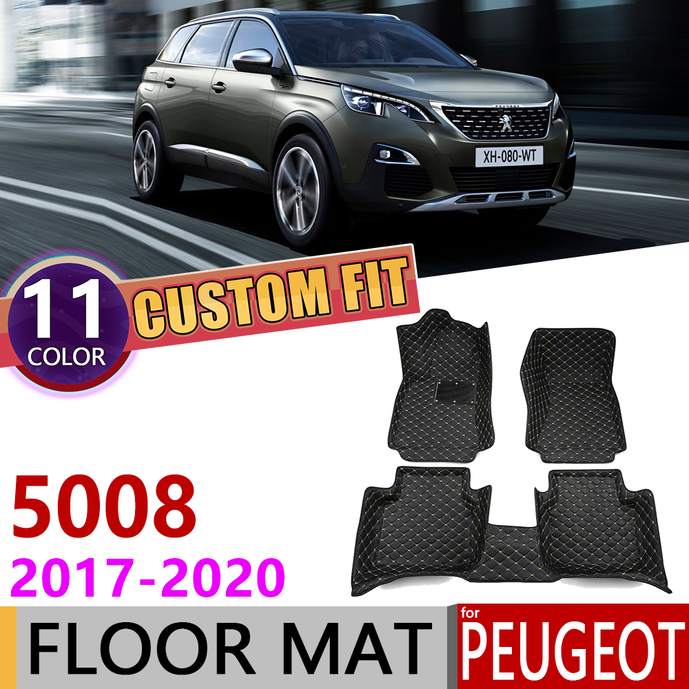 Custom Leather Car Floor Mats For Peugeot 5008 T87 2017~2020 5 Or 7 Seat Auto Waterprool Foot Pad Carpet Accessories 2018 2019