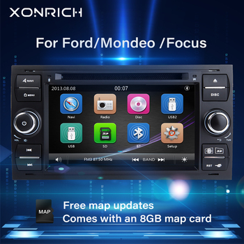 2 din Car Radio Multimedia For Ford Focus 2 3 mk2 Mondeo 4 Kuga Fiesta Transit Connect S-MAXC-MAX DVDGPS Navigation Stereo Audio image