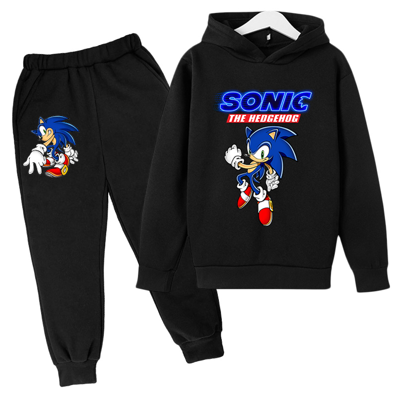2021Big Boys anime Clothing Suit Anime Sonic the Hedg Tracksuit Kids Hoodie Pants 2pcs Sets Baby Girl Christmas Outfit 2