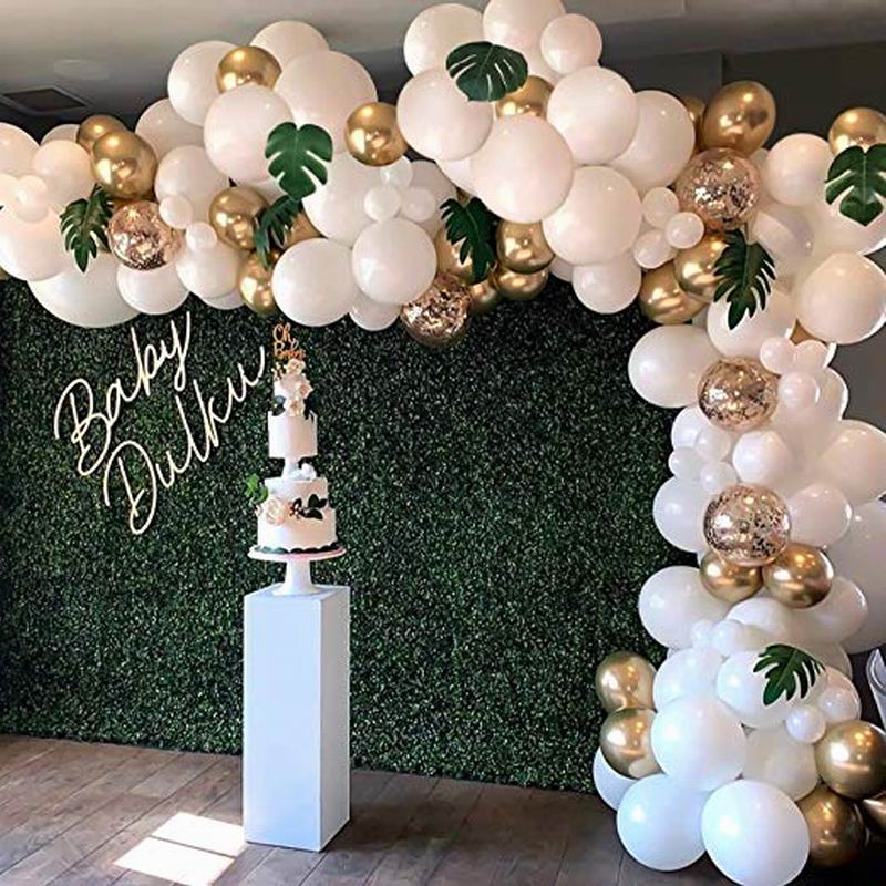 98pcs Balloon Garland Arch Kit White Gold Confetti Balloons Artificial Palm Leaves Birthday Party Wedding Decorations(China)
