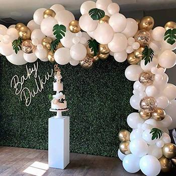 98pcs Balloon Garland Arch Kit White Gold Confetti Balloons Artificial Palm Leaves Birthday Party Wedding Decorations